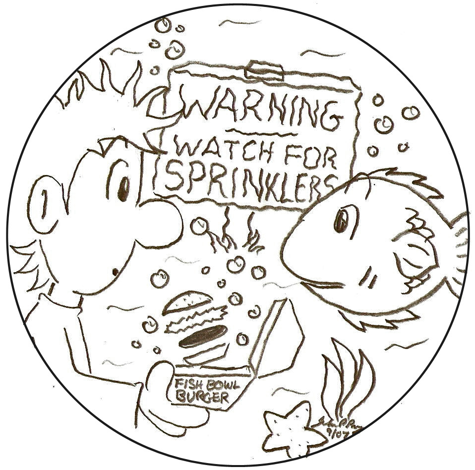 """Underwater. A sign reads, """"Warning - Watch for sprinklers"""". A confused man floats face-to-face with an equally confused fish. The man's """"Fish Bowl Burger"""" is floating from its container, unnoticed."""