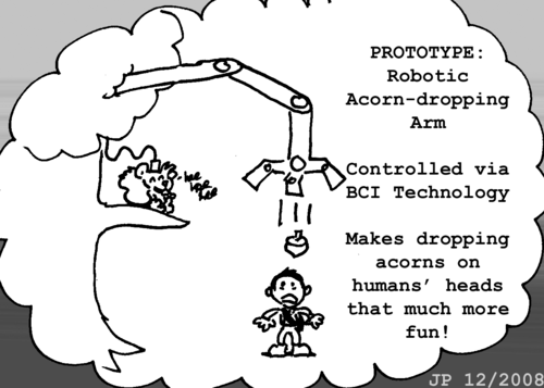 "Skip's imagination: ""PROTOTYPE: Robotic Acorn-dropping Arm. Controller via BCI Technology. Makes dropping acorns on humans' heads that much more fun!"" Skip stands in a tree, a cable plugged directly into his head. A large robotic arm emerges from the tree's upper branches and drops a single acorn on the head of a human below. Skip giggles."