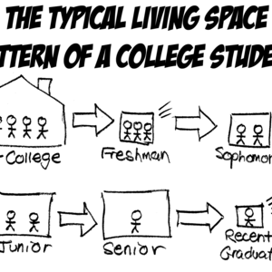 Pre-college (very large) >pp Freshman (tiny) > Sophomore (small) > Junior (medium) > Senior (large) > Recent graduate (miniscule)