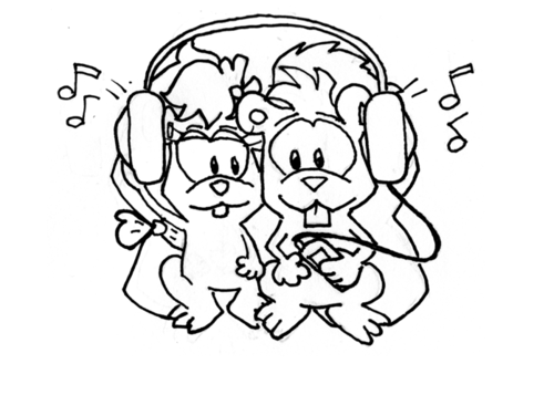 The two squirrels snuggle close and share the one pair of headphones, listening to the music.
