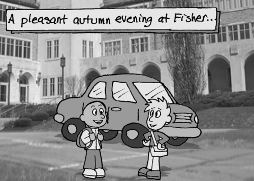 """A pleasant autumn evening at Fisher..."" Two students chat amicably near a car in front of the Kearney building at St. John Fisher College."