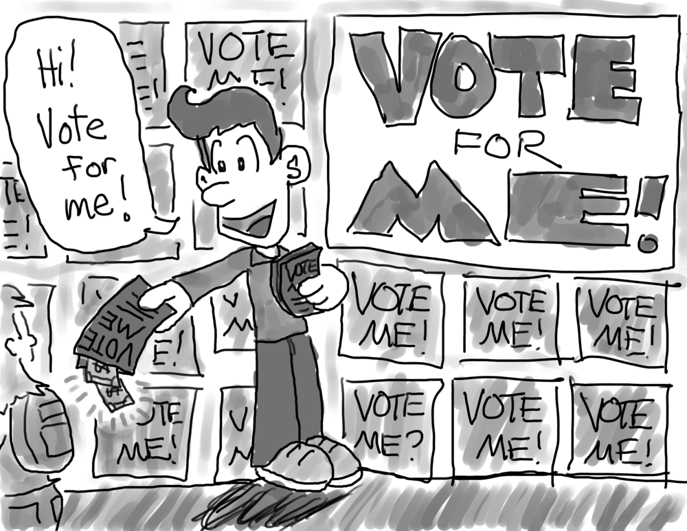 """A student is handing out flyers to passerby, saying, """"Hi! Vote for me!"""" He is surrounded by large posters that read, """"VOTE FOR ME!"""". A few dollar bills poke out of the flyer he's holding out to a passing student."""