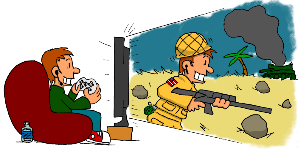 A red-headed guy lounges in a beanbag chair, holding his Xbox 360 video game controller. Grinning and having a great time, he gazes through his large TV screen, where he sees himself as an American soldier running through a desert wasteland, holding a rifle. The solider is also grinning and having a great time. A smoldering tank can be seen in the background.
