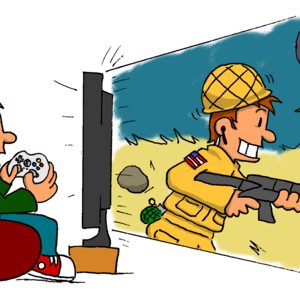 A red-headed guy lounges in a beanbag, holding his Xbox 360 video game controller. Grinning and having a great time, he gazes through his large TV screen, where he sees himself as an American soldier running through a desert wasteland, holding a rifle. A smoldering tank can be seen in the background.