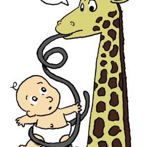 A giraffe sticks out a very, very long tongue, which is wrapped lightly around a human baby wearing a diaper. The two creatures look at one another, clearly confused about the situation.