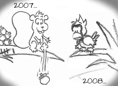 """2007..."" Cal watches Skip drop an acorn on passerby for the first time. ""2008..."""