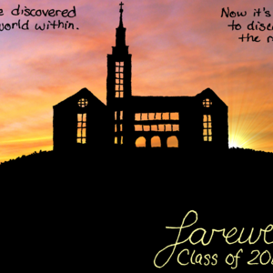 The silhouette of Kearney Hall stands atop its hill, backlit by an extraordinary sunset.